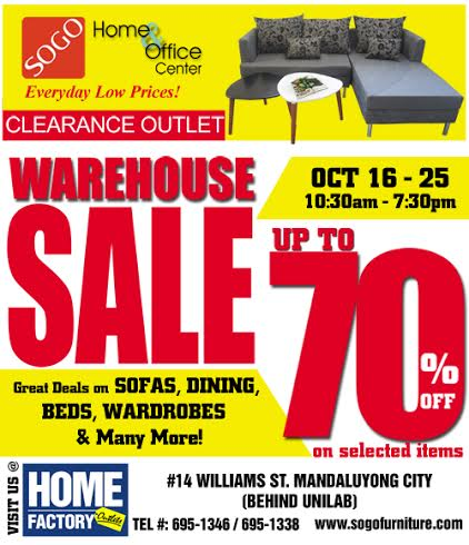 Sogo Home Office Center Warehouse Sale October 2015 Manila On Sale
