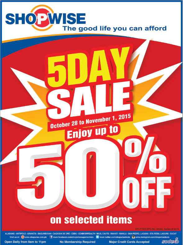 Shopwise 5-Day Sale October - November 2015
