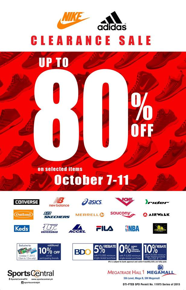 0fe1a3448aa Sports Central Nike   Adidas Clearance Sale   SM Megatrade Hall October 2015