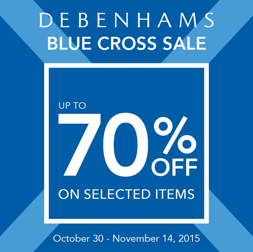 Debenhams Blue Cross Sale October - November 2015