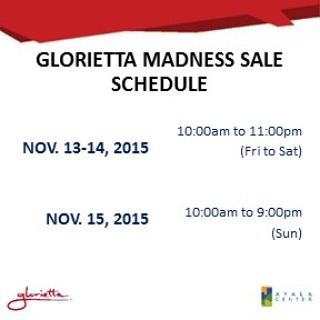 Glorietta Madness Sale November 2015