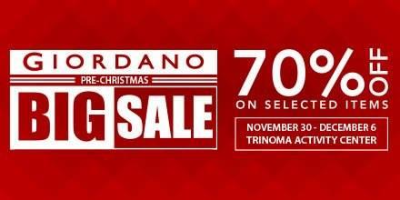 Giordano Pre-Christmas Sale @ Trinoma Activity Center December 2015