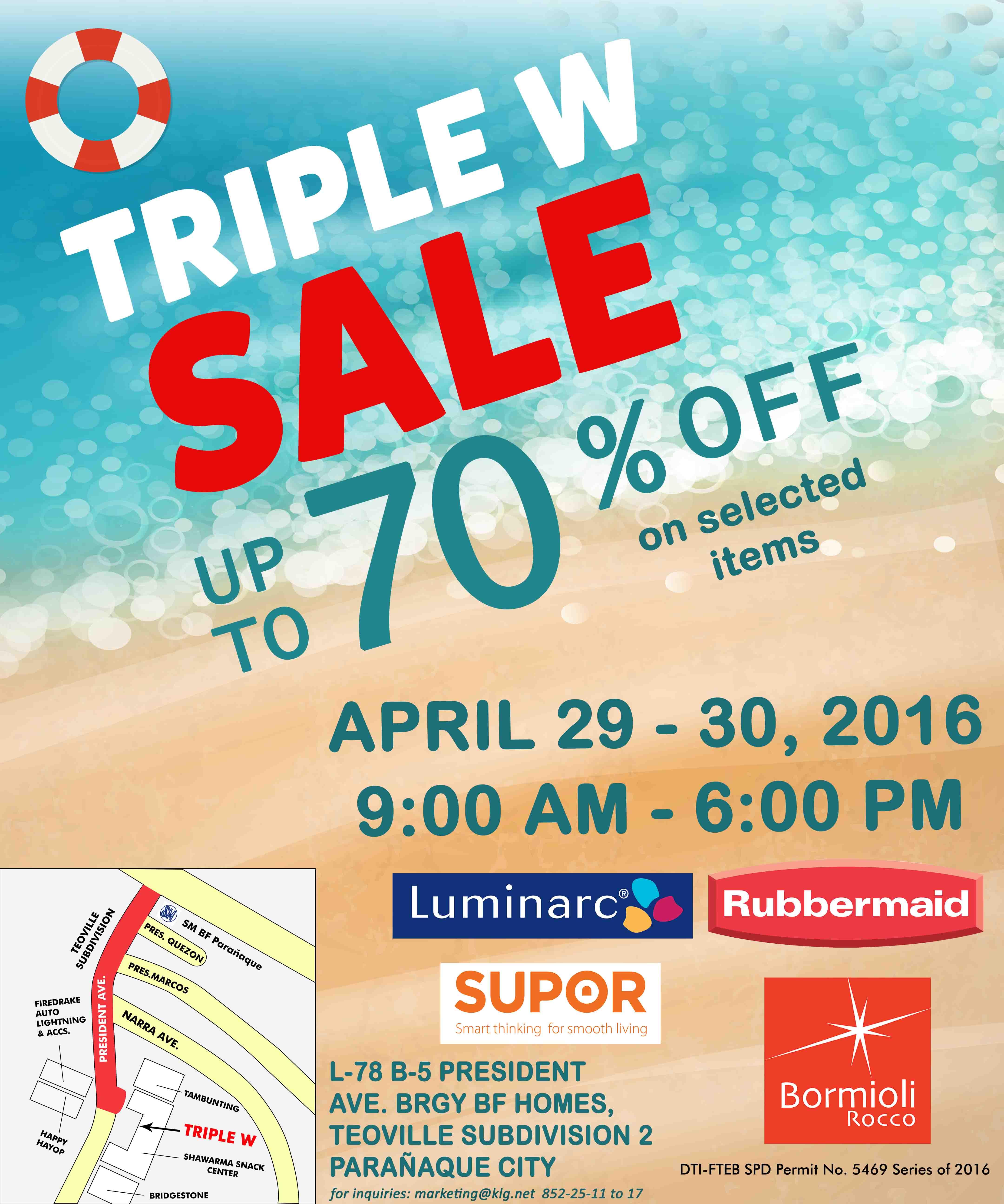 TRIPLE W SALE APRIL 29-30