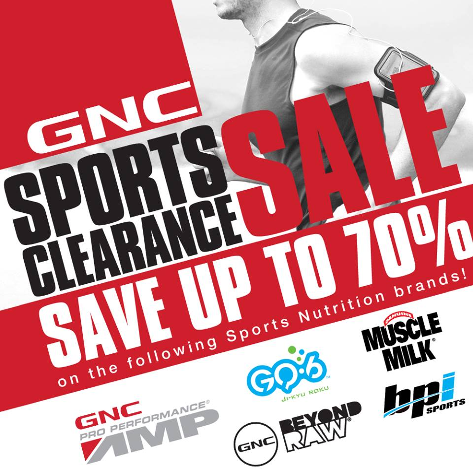 GNC Sports Clearance Sale: August 8- September 30, 2016