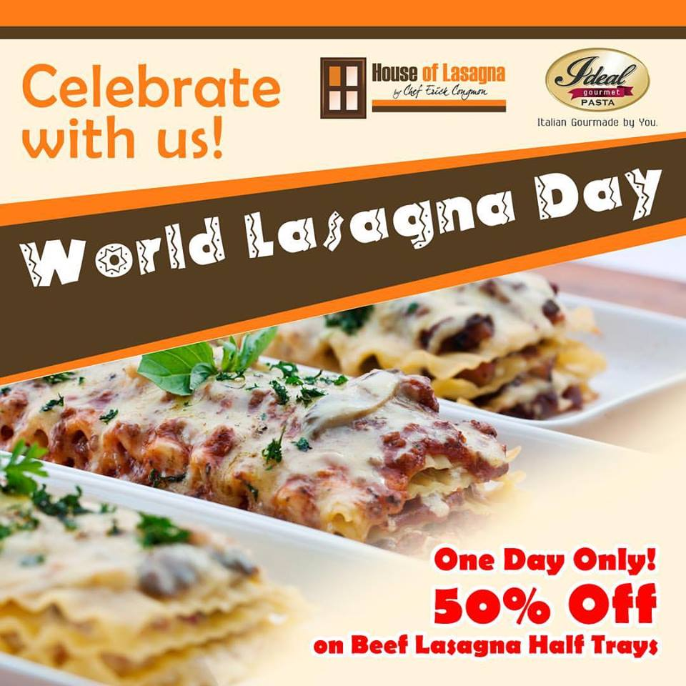 food promo 50 off beef lasagna at house of lasagna manila on sale. Black Bedroom Furniture Sets. Home Design Ideas
