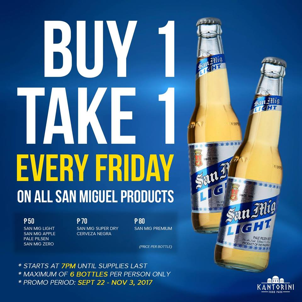Buy: Buy 1 Take 1 On San Miguel Beers At Kantorini Food Park