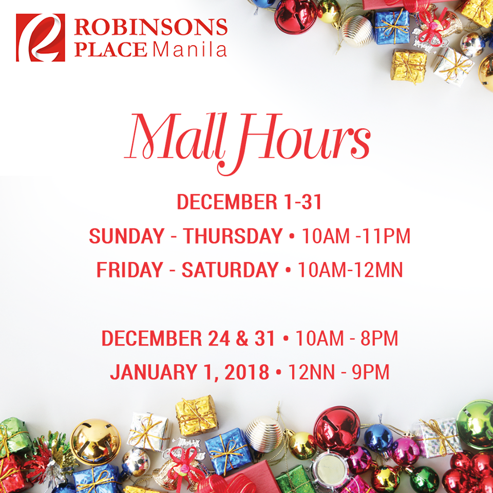 2017 Holiday Mall Hours: Robinsons Malls | Manila On Sale