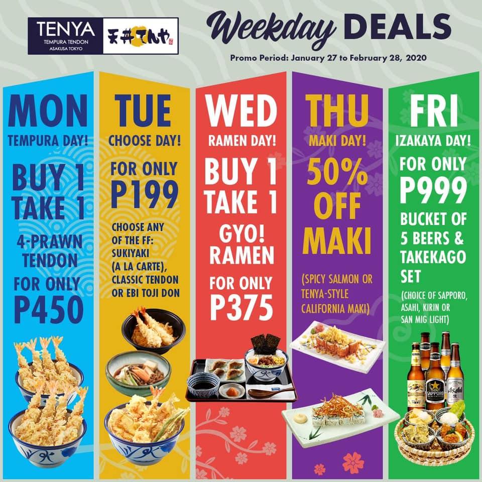 Tenya Weekday Deals February 2020